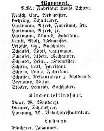 Mitgliederverzeichnis aus dem Jahre 1893